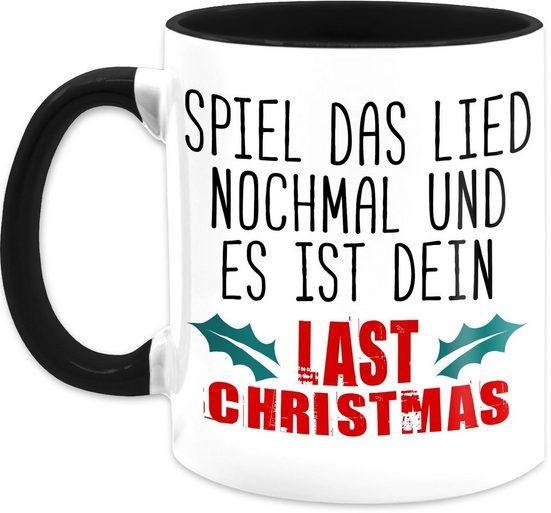 Shirtracer Tasse »Last christmas - Kaffeetasse mit Spruch - Tasse zweifarbig«, Keramik, Statement Teetasse