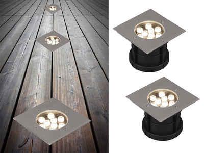 meineWunschleuchte LED Einbauleuchte, 2er Set, befahrbarer Boden-Einbaustrahler, Edelstahl, Einbauspots für außen, Terrasse, Fassaden-Beleuchtung