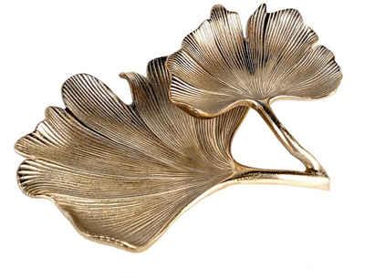 GILDE Dekoschale »Schale Ginkgo, antik goldfarben« (1 Stück), Doppelschale, Breite 33 cm, aus Metall, Blattform, Wohnzimmer