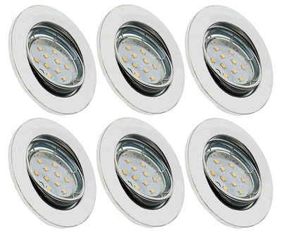 TRANGO LED Einbauleuchte, 6er Set 6729-068MOSD LED Einbaustrahler in Chrom-Optik Rund incl. 6x 5 Watt 3 Stufen dimmbar Ultra Flach LED Modul 3000K warmweiß, Einbauleuchte, Deckenspot, Einbauspot, Deckenleuchte