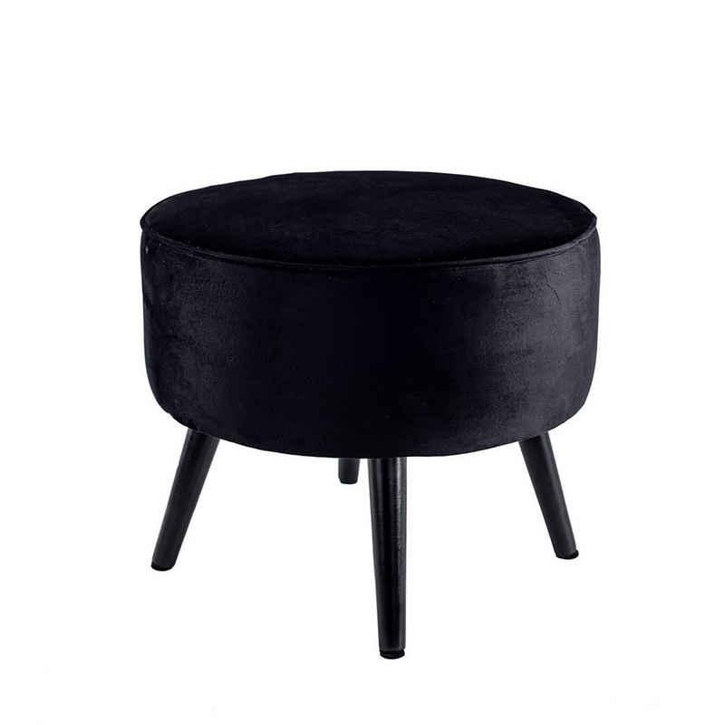 Cosy Home Ideas Hocker »Hocker rund Samt Optik gepolstert 50 cm« (1 Stück, 1 Hocker rund), mit Holzfüßen, leicht demontierbar, mit Keder