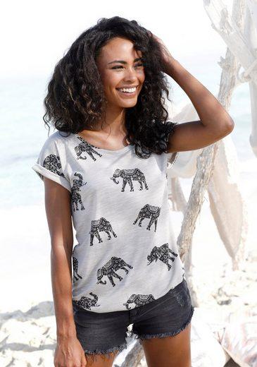 LASCANA Kurzarmshirt mit Elefanten-Motiv