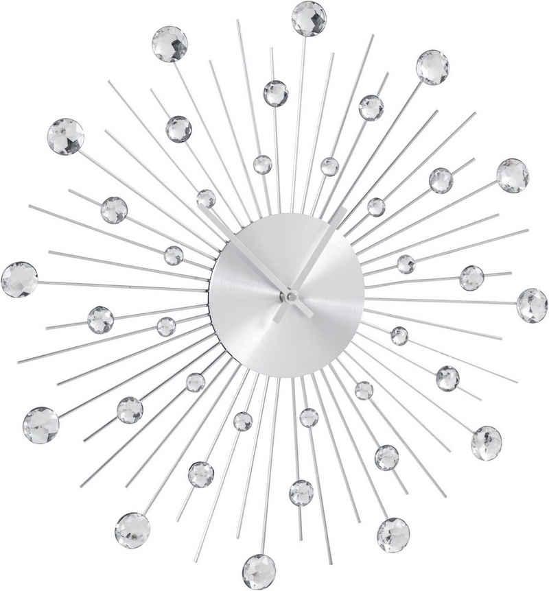 Leonique Wanduhr »Universe« (silberfarben, rund, Ø 50 cm, mit Schmucksteinen)