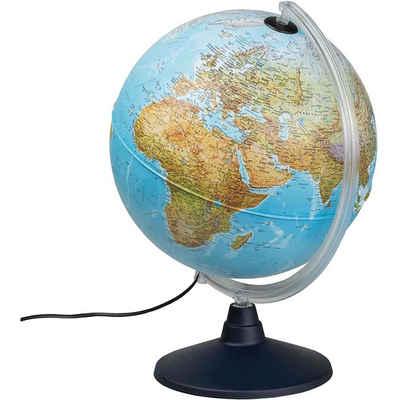 Idena Globus »569902 Leuchtglobus«, mit LED-Beleuchtung, mit Ein- und Ausschalter, zwei Kartenbilder (geographische Weltkarte und politische Karte mit allen Ländern(beleuchtet), Beschriftung in deutscher Sprache, drehbar, Spielerisches Lernen, für Schülerinnen und Schüler