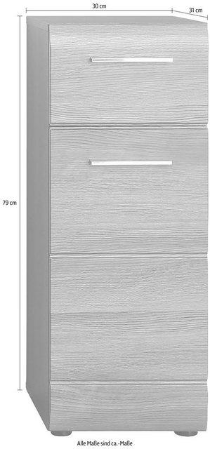 Badschränke - trendteam Unterschrank »Skin« Höhe 79 cm, Badezimmerschrank mit Fronten in Hochglanz oder Holzoptik, mit Schubkasten  - Onlineshop OTTO