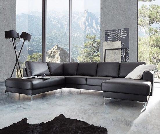 DELIFE Wohnlandschaft »Silas«, Schwarz 300x200 cm Ottomane Links Designer Wohnlandschaft