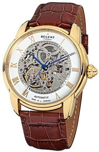Regent Chronograph »URGM1434 Regent Automatik Herren Uhr GM-1434 Leder«, (Analoguhr), Herren Armbanduhr rund, groß (ca. 42mm), Edelstahl, Elegant
