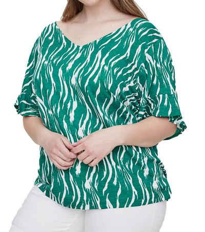 Junarose Kurzarmshirt »JUNAROSE Duena Shortsleeve Kurzarm-Shirt modisches Damen Rundhals T-Shirt Freizeit-Shirt Grün/Weiß«