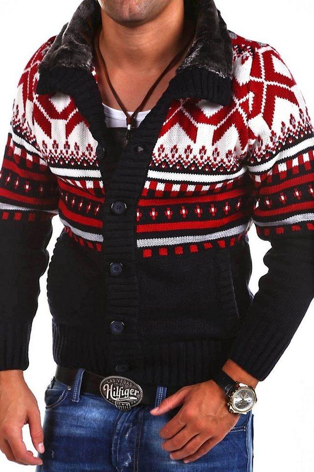 behype -  Strickjacke »CARISMA« mit modischem Norweger-Muster
