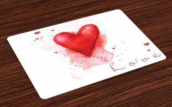 Tischdecke, »Waschbare Stoff Esszimmer Küche Tischdekorations Digitaldruck«, Abakuhaus, (4-teilig, 4 Teilig-St., Set aus 4x), Liebe Aquarell-Effekt Herz