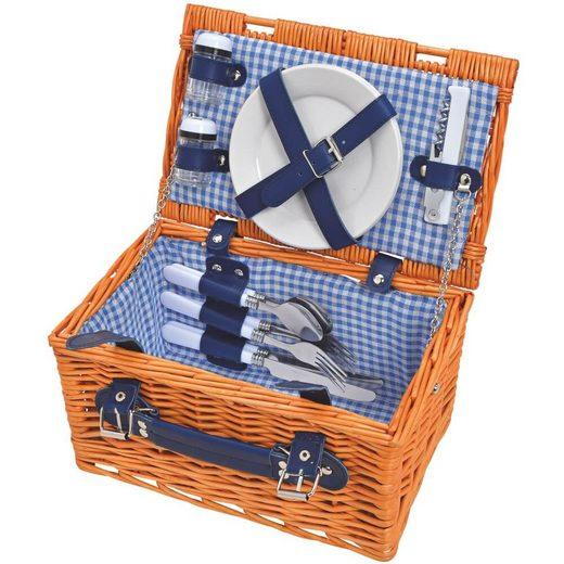 matches21 HOME & HOBBY Picknickkorb »Picknickkorb Weidenkorb 12-tlg. Blau / weiß«, Für 2 Personen / Geschirr, Besteck, Zubehör