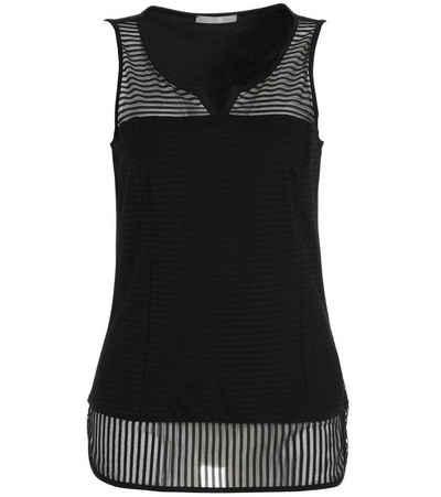 TUZZI Shirttop »TUZZI Top leicht tailliertes Damen Sommer-Shirt mit transparentem Streifenbesatz Mode-Shirt Schwarz«