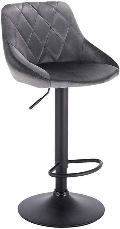 Woltu Barhocker »BH219«, Gute gepolsterte Sitzfläche aus Samt, Höhenverstellbar, 360° Drehbar