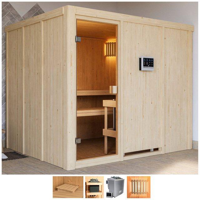 Saunen und Zubehör - Karibu Sauna »Nando«, BxTxH 231 x 196 x 198 cm, 68 mm, 9 kW Bio Ofen mit ext. Steuerung  - Onlineshop OTTO