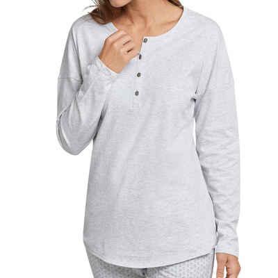 Schiesser Pyjamaoberteil »Mix & Relax Schlafanzug Shirt langarm« Locker geschnitten mit Knopfleiste, Angenehm auf der Haut, Schlafanzüge zum selber mixen