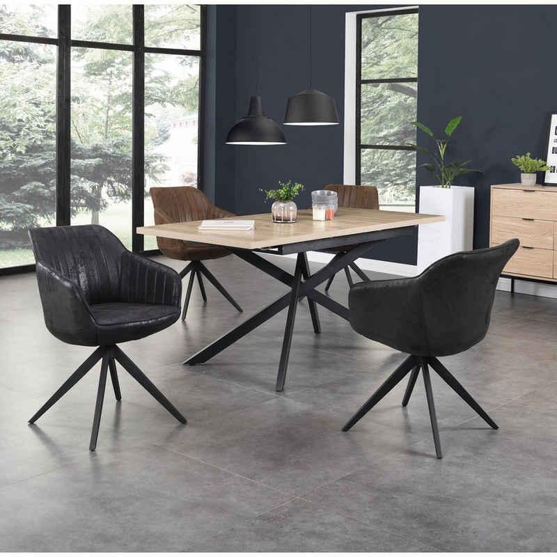 B&D home Esszimmerstuhl »Drehstuhl ARVIT« (Set, 2 Stück), Polsterstuhl, Schalenstuhl drehbarer Stuhl Esszimmer, Retro, Microfaser, Wildleder Optik
