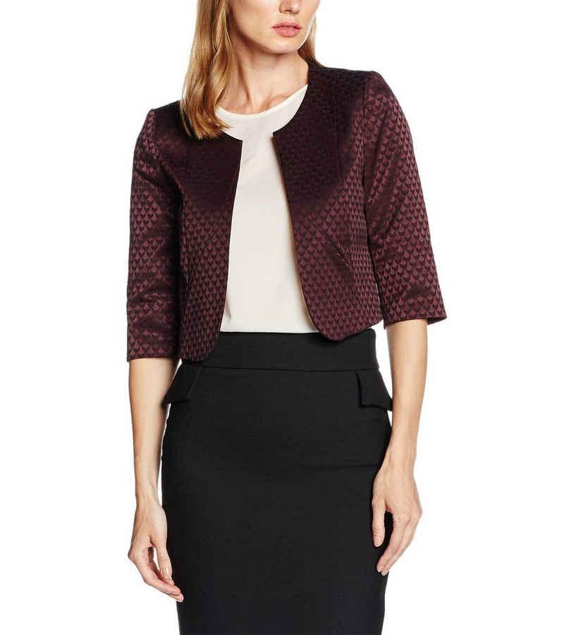 Comma Kurzblazer »COMMA Kurz-Blazer elegante Damen Business-Jacke mit Allover-Muster Jäckchen Bordeaux Rot«