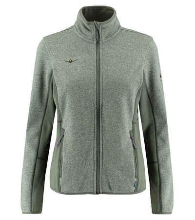 Kaikkialla Outdoorjacke »KAIKIALLA Annukka Fleece Jacke praktische Damen Midlayer-Jacke mit elastischen Einsätzen Trekking-Jacke Grün«