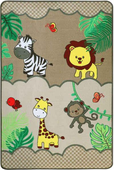 Kinderteppich »SAFARI«, Primaflor-Ideen in Textil, rechteckig, Höhe 5 mm, Motiv Tiere der Savanne, Kinderzimmer