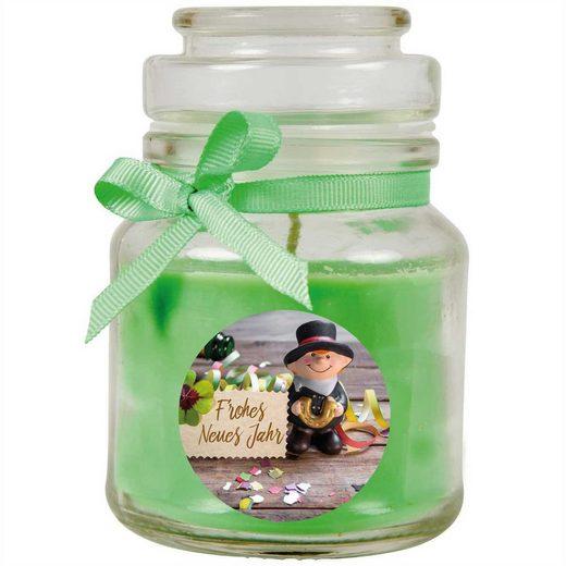 HS Candle Duftkerze (1-tlg), Frohes Neues Jahr - Kerze im Bonbon Glas, Kerze mit Neujahr - Motiv, vers. Düfte / Größen