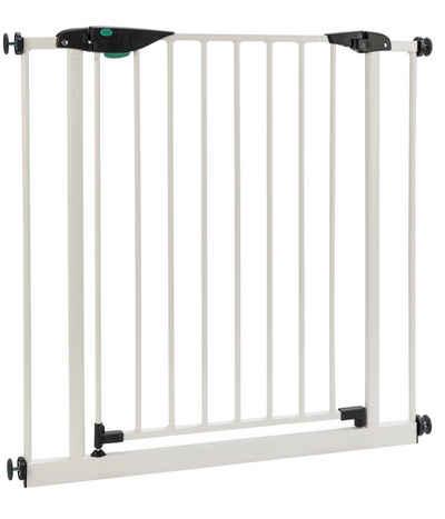 BOMI Türschutzgitter »Kinderschutzgitter ohne Bohren Mira 63-251 cm«, Babygitter zum Klemmen - 90 Grad Feststellfunktion der Tür - Selbstschließend Schutzgitter Baby