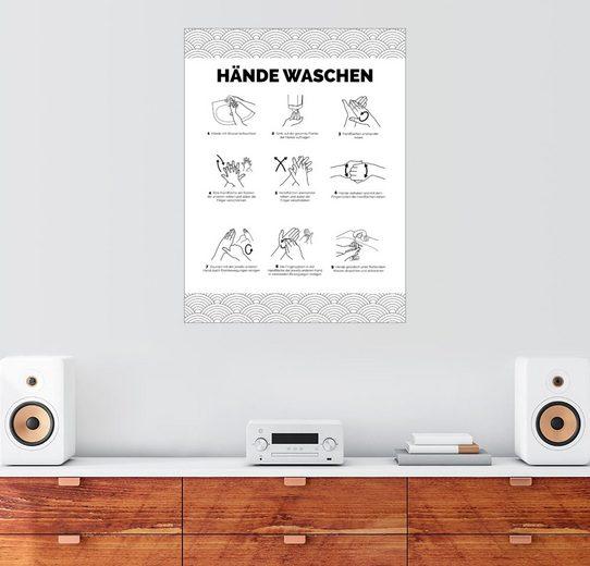 Posterlounge Wandbild, Premium-Poster Hände waschen