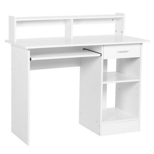 Yaheetech Schreibtisch, Computertisch mit Ablage Bürotisch PC-Tisch Tisch für Home Office 106 x 50 x 94 cm