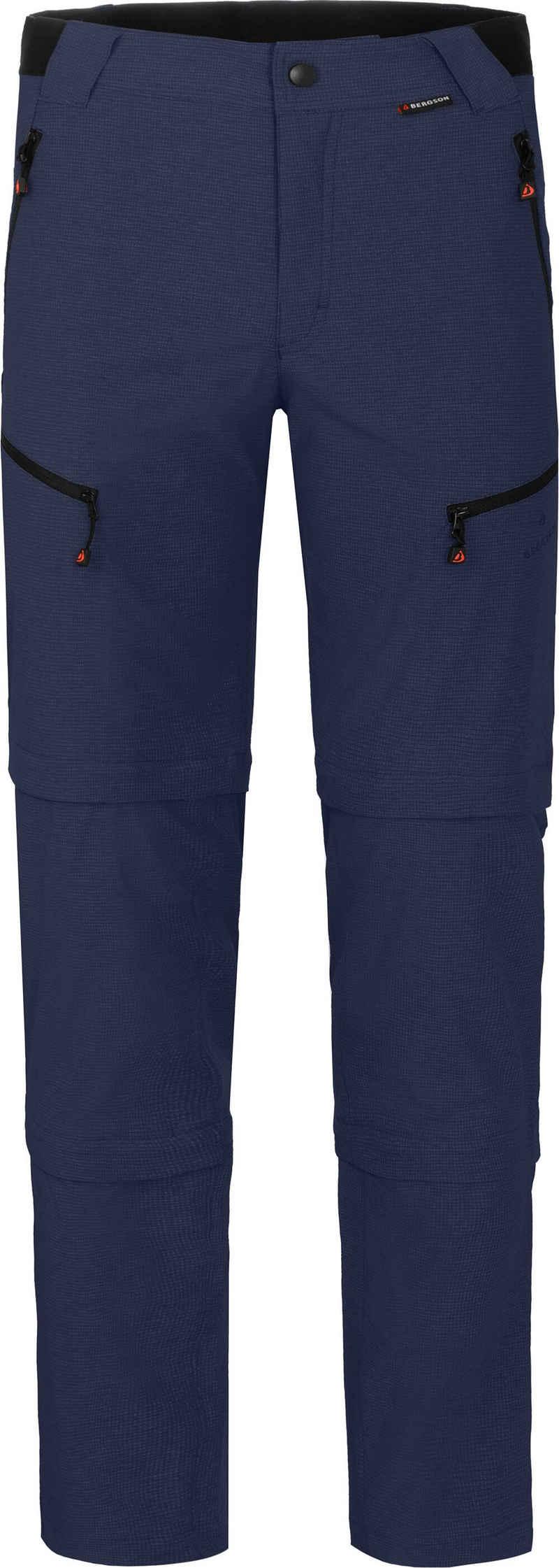 Bergson Zip-off-Hose »LEBIKO Doppel Zipp-Off mit T-ZIPP« Herren Wanderhose, robust elastisch, Normalgrößen, peacoat blau