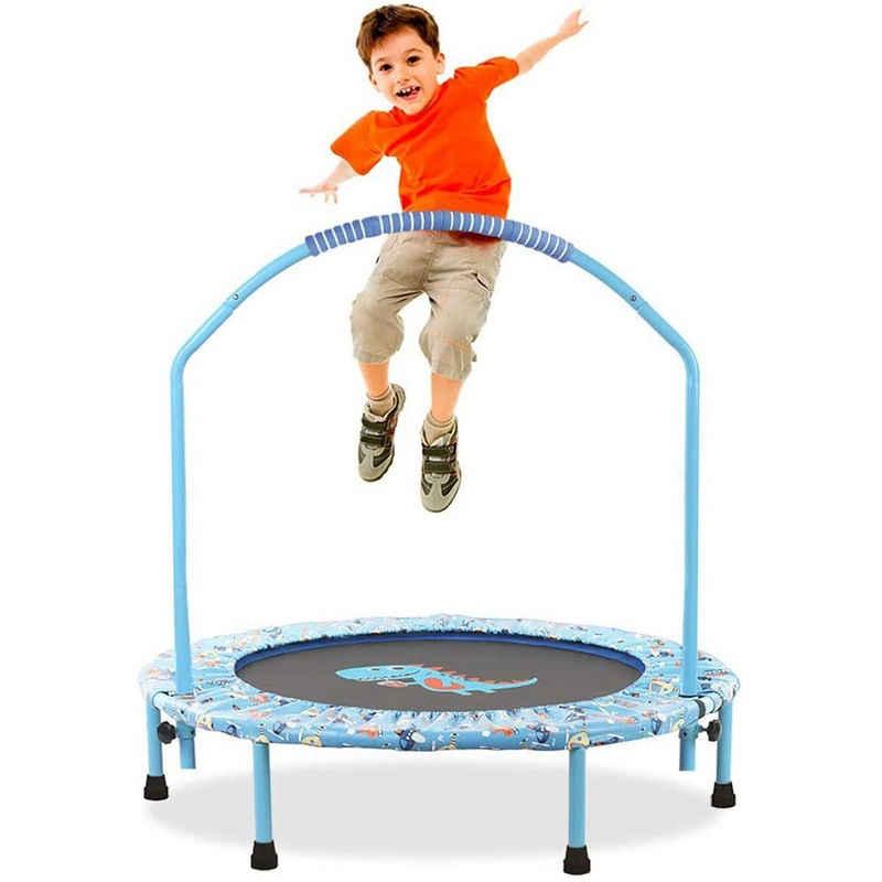 LBLA Kindertrampolin, Ø96cm Kinder Trampolin Mini Faltbare Fitness Trampolin Abdeckung mit verstellbarem Handlauf und Sicherheitspolsterung für den Innen- und Außenbereich