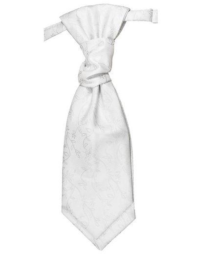 Paul Malone Krawatte »Elegantes Herren Plastron floral Hochzeitskrawatte - vorgebunden - Bräutigam Hochzeitsmode« silber weiß v20