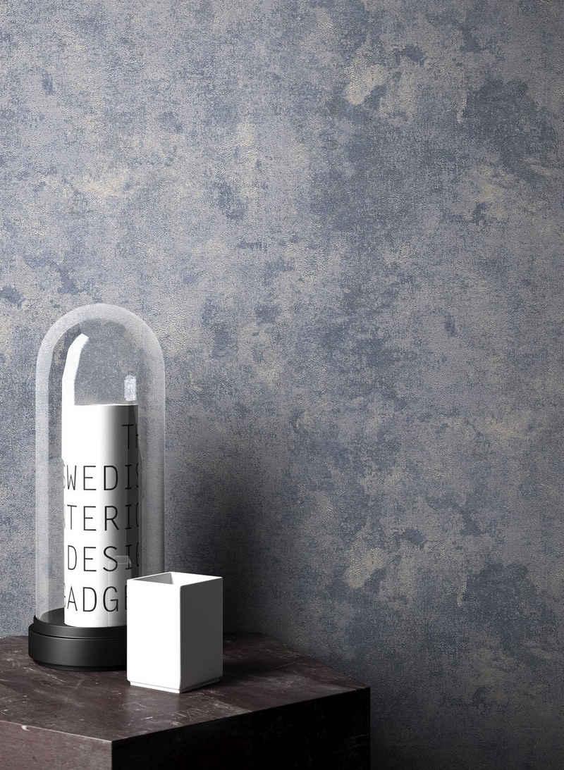 Newroom Vliestapete, Blau Tapete Leicht Glänzend Modern - Uni Einfarbig Grau Beige Struktur Schlicht für Schlafzimmer Wohnzimmer Küche
