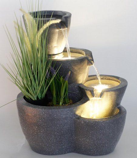 Arnusa Gartenbrunnen »Zimmerbrunnen Botana Warm-Weiß«, 53,00 cm Breite, (Komplett-Set), Springbrunnen bepflanzbar und mit Beleuchtung