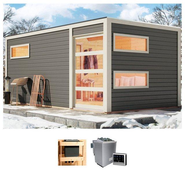 KARIBU Saunahaus »Helmar«, 508x276x221 cm, 9 kW Bio-Kombiofen mit ext. Steuerung | Baumarkt > Bad und Sanitär | Karibu