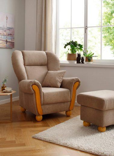Home affaire Loungesessel »Milano Vintage«, hoher Sitzkomfort mit hoher Rückenlehne, incl. Zierkissen, Bezug in pflegeleichter Vintageoptik