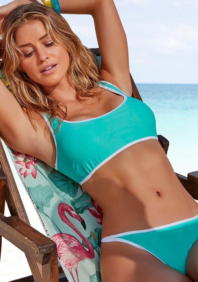 Bademode - Venice Beach Bustier Bikini Top »L.A.«, mit Kontrastpiping › grün  - Onlineshop OTTO