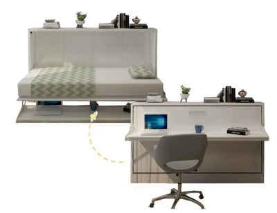 Multimo Klappbett »Multimo TABLE BED Wandbett mit Schreibtisch, 90x190 cm« klappbar, inkl. Schreibtischplatte