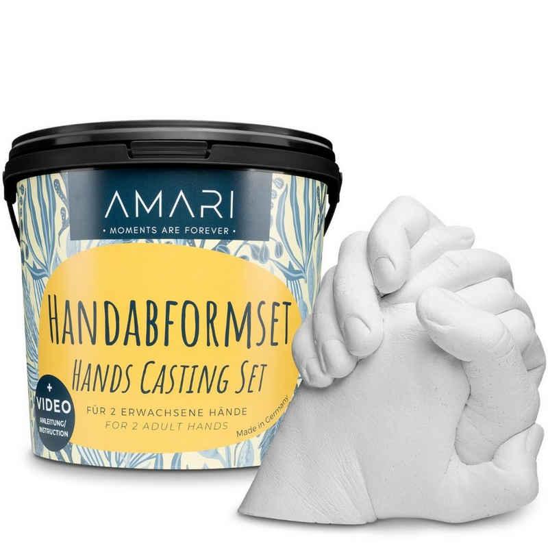 Amari Geschenkbox »AMARI® Handabdruck Set für Paare - 3D Gipsabdruck Set Familie - Valentinstag Geschenk für Sie und Ihn - Für Valentinstag, Hochzeit, Jahrestag, Weihnachten - hochwertiges Gipsabdruckset«, 2-tlg.