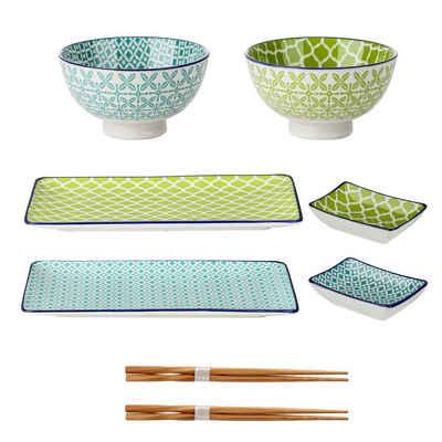 vancasso Kombiservice »MACARON« (8-tlg), Porzellan und Bambus, Porzellan Sushi Geschirrset