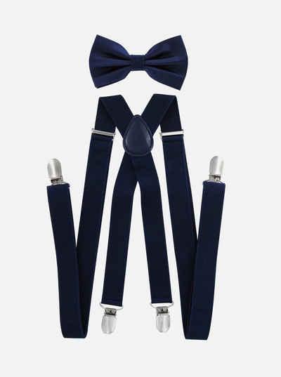axy Hosenträger »Herren Hosenträger mit Fliege Set« (2-St., 2er Set) 4 Stabile Clips X-Form 2,5cm Breit verstellbar und elastisch 120cm Lang