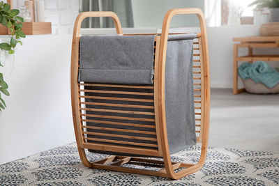 riess-ambiente Wäschekorb »LAGOON SPA 61cm natur / grau« (1 Stück), Massivholz · Wäschesammler · Badezimmer · Bambus