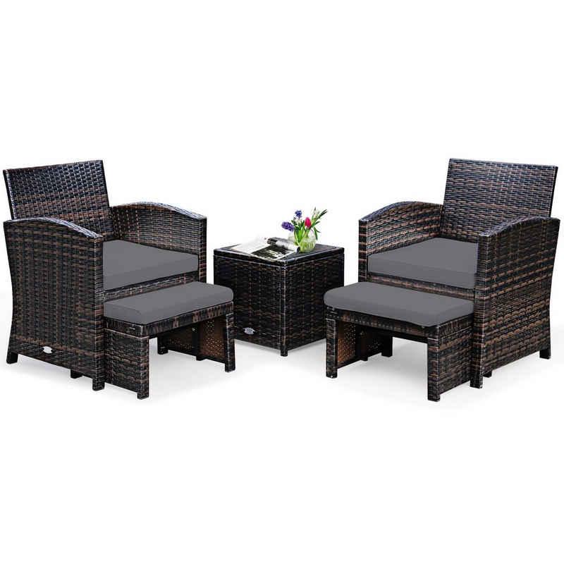 COSTWAY Balkonset »Rattan Set, Gartenmöbel, Sitzgruppe«, (5-tlg), inkl. Rattentisch und Stühle, mit Sitzkissen und Ottomane