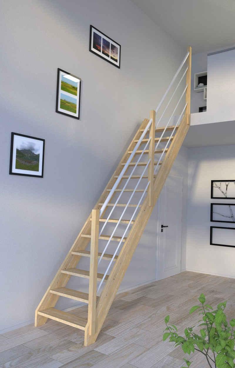 Starwood Raumspartreppe »Massivholz Korfu, Holz-Edelstahl Weiß«, für Geschosshöhen bis 300 cm, Stufen offen, Durchgehende Wangenteile