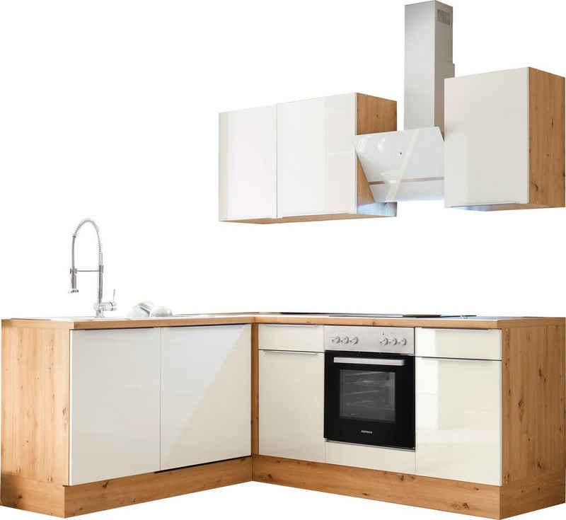 RESPEKTA Winkelküche »Safado«, mit 2 E-Geräte-Sets zur Auswahl, hochwertige Ausstattung wie Soft Close Funktion, schnelle Lieferzeit, Stellbreite 220 x 172 cm