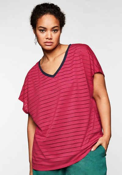 Sheego T-Shirt mit V-Ausschnitt, in Streifenoptik
