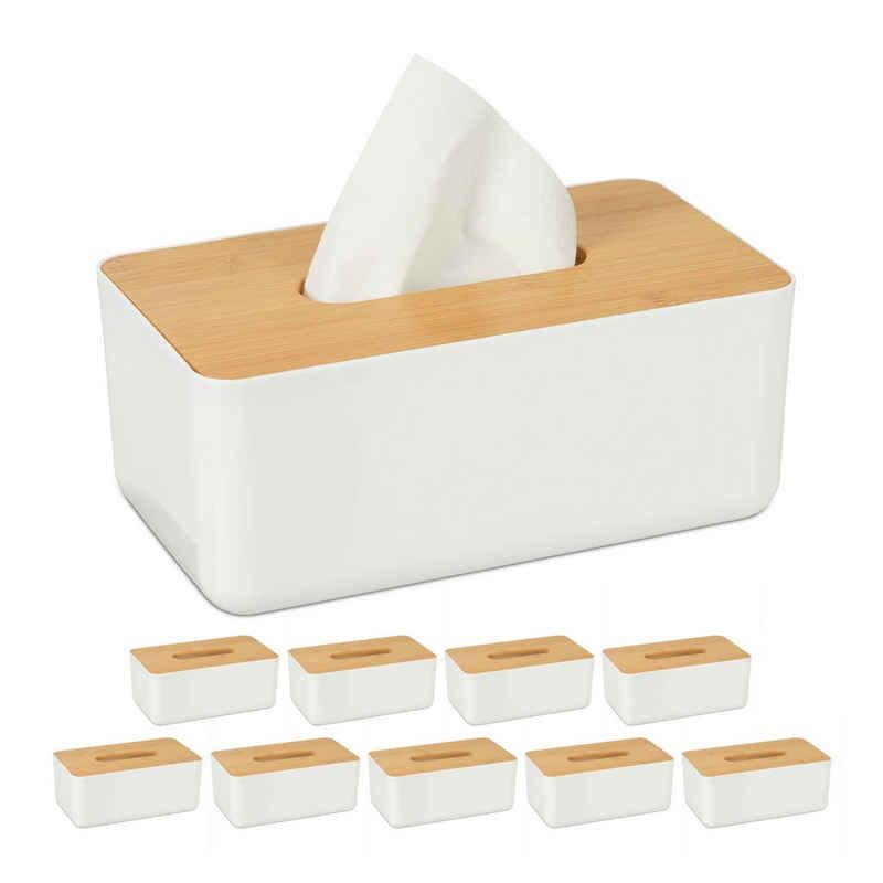 relaxdays Papiertuchbox »10 x Tücherbox mit Bambus-Deckel«