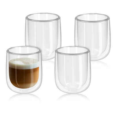 Navaris Gläser-Set, Glas, 4x doppelwandige Gläser 350ml - Thermogläser für Cappuccino Latte Macchiato Tee Wasser Cola Cocktails - 4er Set Kaffeegläser Borosilikat