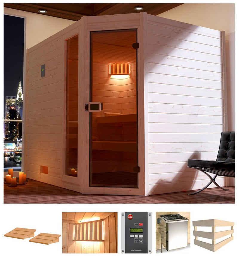 weka Sauna »Lars Eck 3«, BxTxH: 238 x 189 x 203,5 cm, 38 mm, 7,5 kW Ofen mit ext. Steuerung
