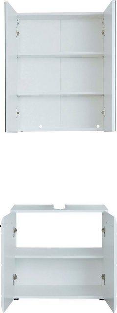 Badezimmer Sets - trendteam Badmöbel Set »Skin«, (Set, 2 tlg), Spiegelschrank und Waschbeckenunterschrank, mit Fronten in Hochglanz oder Holzoptik  - Onlineshop OTTO