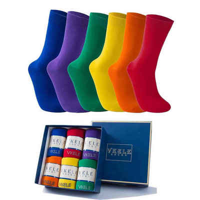 Vkele Socken (6-Paar) Geschenkpack einfarbige socken herrensocken, Crew Socken