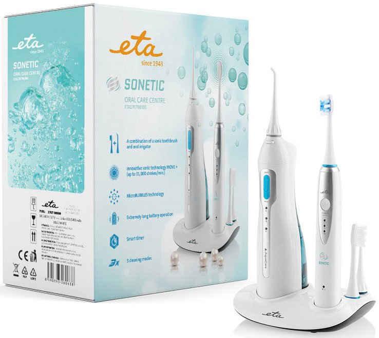 eta Mundpflegecenter »SONETIC ETA270790000«, Munddusche & Zahnbürste, Technologie MOVE+ und microBUBBLES, Timer 2 Minuten mit 30 Sek. Intervallen, Akku Li-ion 3,7 V, 3 Reinigungsstufen, DuPont Borsten